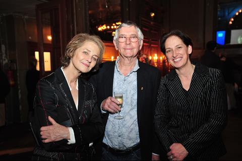 Charlotte Rampling and Tom Courtney (45 Years) with Briony Hanson, Director of Film, British Council